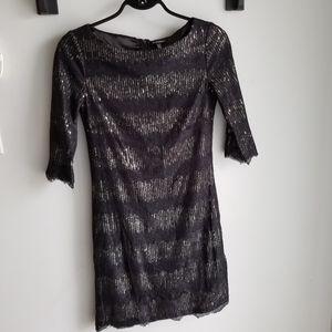 👗LE CHATEAU BLACK LACE/SEQUIN FORMAL DRESS
